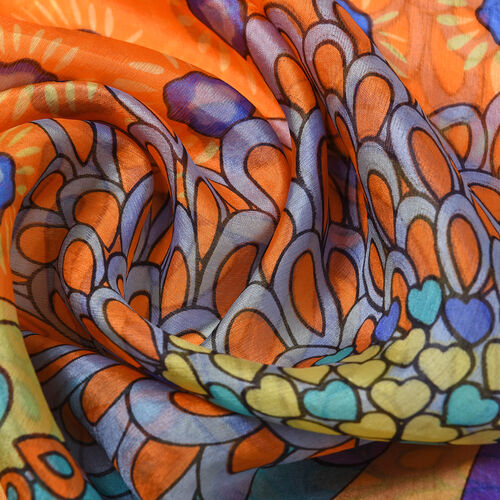 100% Mulberry Silk Garden Themed Pattern Scarf (Size 180x110Cm) - Orange and Multi