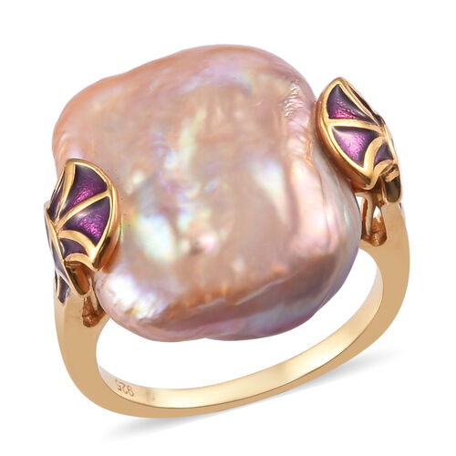 Baroque Pearl Enamelled Ring in 14K Gold Overlay Sterling Silver