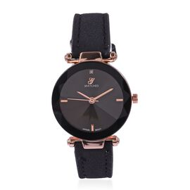 Diamond (Rd 1.3mm) Faceted Glass Constellation Stainless Steel Watch - Black