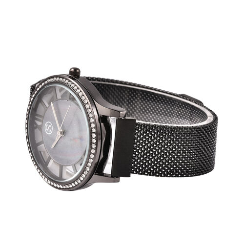 STRADA Japanese Movement White Austrian Studded Water Resistant Watch with Mesh Style Strap in Black Tone