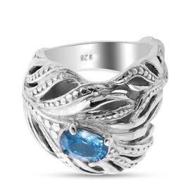 Royal Bali Collection - Natural Blue Ratnagiri Zircon  Feather Design Ring in Sterling Silver 2.77 c