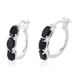 Boi Ploi Black Spinel (Ovl) Hoop Earrings (with Clasp) in Sterling Silver 3.500 Ct.
