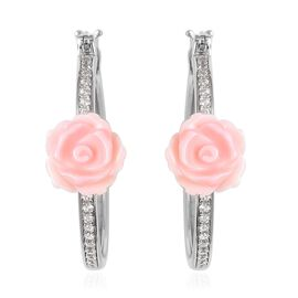 Jardin Collection Pink Mother of Pearl and Zircon Floral Hoop Earrings in Rhodium Plated Silver