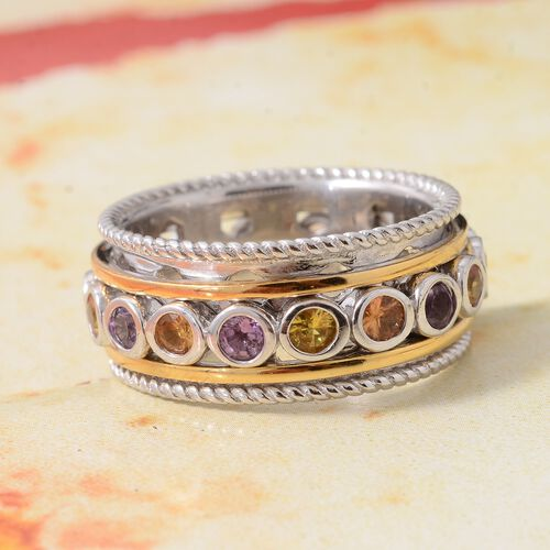 Rainbow Sapphire (Rnd) SPINNER Ring in Yellow Gold and Platinum Overlay Sterling Silver 2.500 Ct, Silver wt 9.61 Gms.