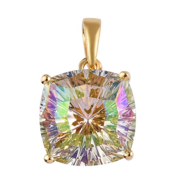 J Francis Crystal From Swarovski Lumingreen Crystal Pendant in 14K Gold Overlay Sterling Silver