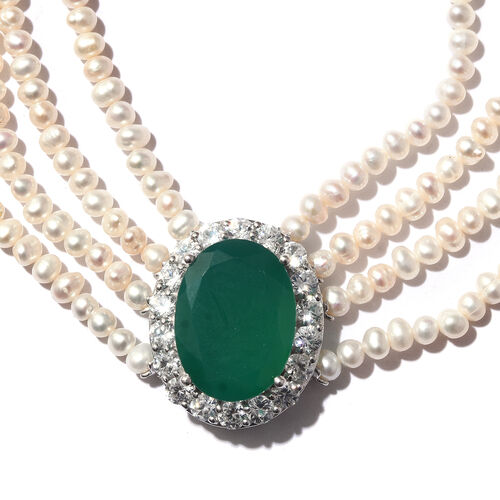 Designer Inspired - Verde Onyx (Ovl 20x15m, 11.760 Ct.), Fresh Water Pearl and Natural Cambodian Zircon Necklace (Size 18) in Platinum Overlay Sterling Silver (Silver wt 9.32 Gms.)