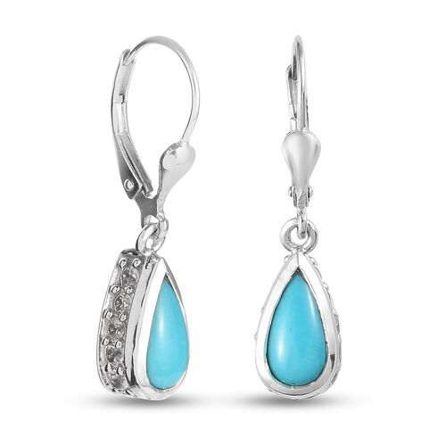 Arizona Sleeping Beauty Turquoise and Natural Cambodian Zircon Lever Back Earrings in Platinum Overlay Sterling Silver 3.00 Ct.