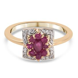 Burmese Ruby and Natural Cambodian Zircon Floral Ring in 14K Gold Overlay Sterling Silver