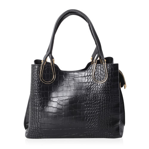 Close Out Deal Black Colour Croc Embossed Large Tote Bag (Size 29x20x12.5 Cm)