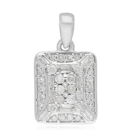 9K White Gold SGL Certified Natural Diamond (I3/G-H) Pendant 0.33 Ct.