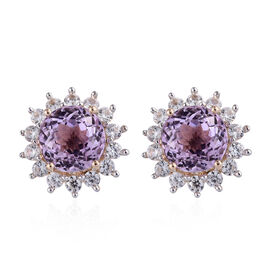 9K Yellow Gold AA Kunzite (Rnd 5.25 Ct), Natural Cambodian Zircon Earrings (with Push Back) 6.650 Ct