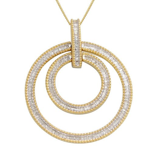 Diamond Circle Pendant with Chain in 14K Gold and Platinum Overlay Sterling Silver 1.000 Ct, Silver wt 11.62 Gms.