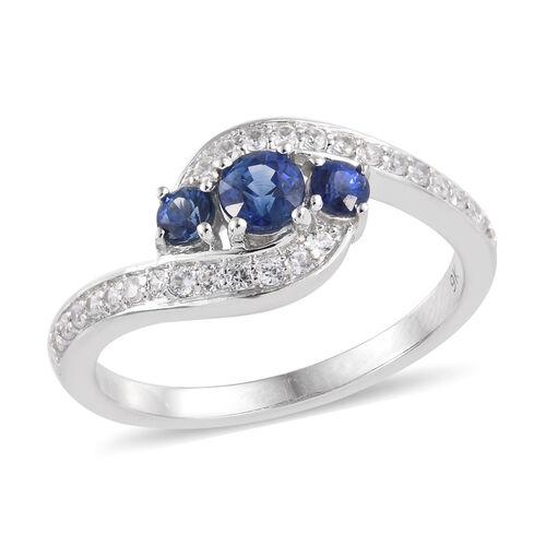 9K White Gold AA Royal Ceylon Sapphire (Rnd), Natural Cambodian Zircon Ring 1.000 Ct.