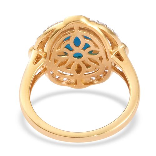 Miami Blue Welo Opal and Natural Cambodian Zircon Ring in 14K Gold Overlay Sterling Silver 1.50 Ct.