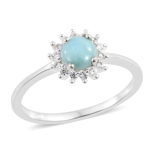 Larimar (Rnd 1.00 Ct), Natural Cambodian Zircon Ring in Sterling Silver 1.250 Ct.