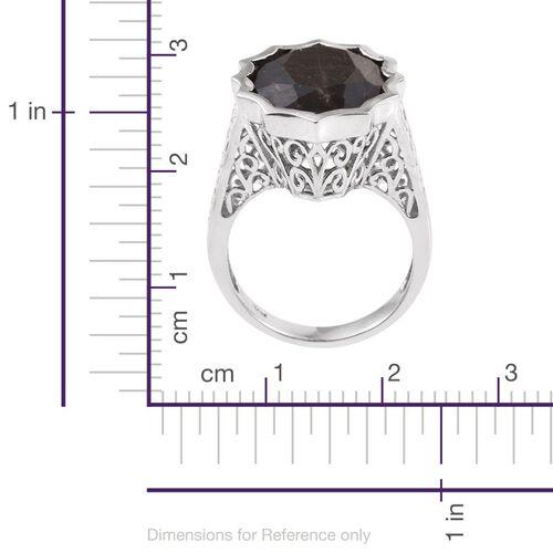 Natural Zawadi Golden Sheen Sapphire (Ovl) Ring in Platinum Overlay Sterling Silver 22.250 Ct.
