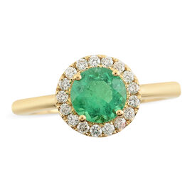 18K Yellow Gold  Colombian Emerald, White Diamond Ring 1.30 ct,  Gold Wt. 3.78 Gms  1.300  Ct.