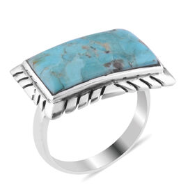 Santa Fe Collection - Turquoise  Ring in Rhodium Overlay Sterling Silver 1.00 ct.