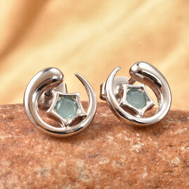 LucQ Luna Collection- Grandidierite Earrings (with Push Back) in Rhodium Overlay Sterling Silver