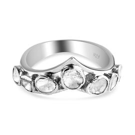 Artisan Crafted - Polki Diamond Ring in Platinum Overlay Sterling Silver 0.50 Ct.