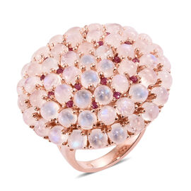Sri Lankan Rainbow Moonstone (Rnd), African Ruby Floral Inspired Ring (Size M) in Rose Gold Overlay Sterling