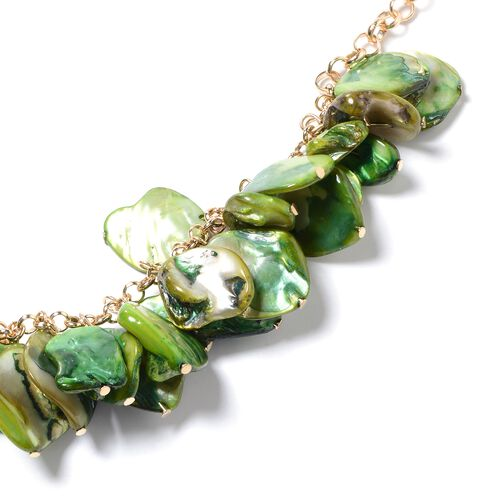 Designer Inspired-Green Shell Necklace (Size 20) in Gold Plated.