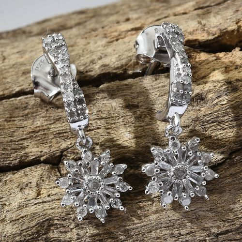 Designer Inspired-Diamond (Rnd) Earrings (with Push Back) in Platinum Overlay Sterling Silver 0.500 Ct.