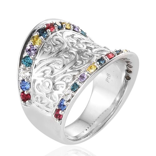 Crystal from Swarovski - Sapphire Colour Crystal, White and Multi Colour Crystal (Rnd) Ring in Platinum Plated