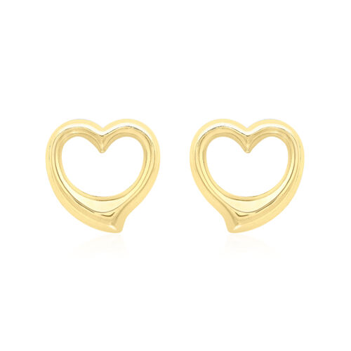 9K Yellow Gold Open Heart Earrings (with Push Back)