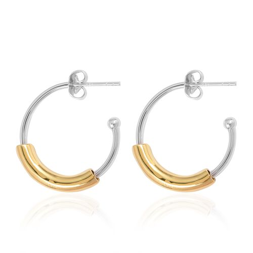 RACHEL GALLEY Bi Colour Rhodium Overlay Sterling Silver Cerchio Earring.Silver Wt 6.10 Gms