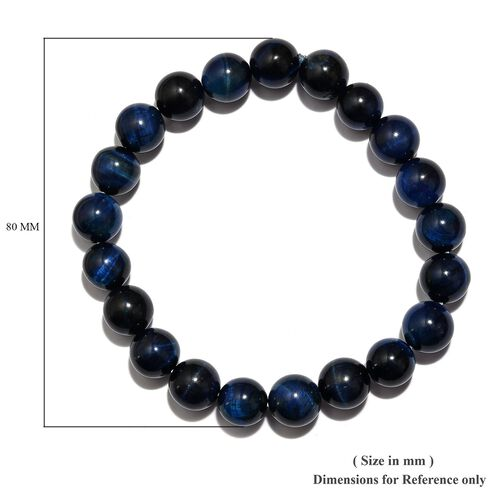 One Time Deal- Blue Tigers Eye Stretchable Beads Bracelet (Size 7.5) 133.52 Ct.