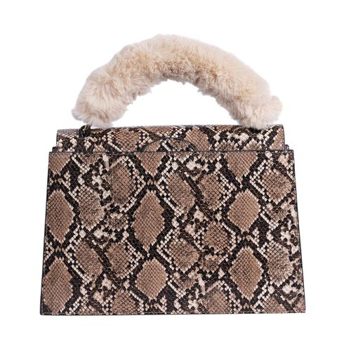 Inyati Olivia Handbag with Removable Faux Fur Handle (Size 20x24x11 Cm) - Brown