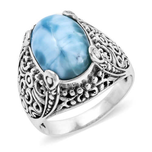 Royal Bali 6.5 Ct Larimar Filigree Design Solitaire Ring in Sterling Silver 6.80 Grams