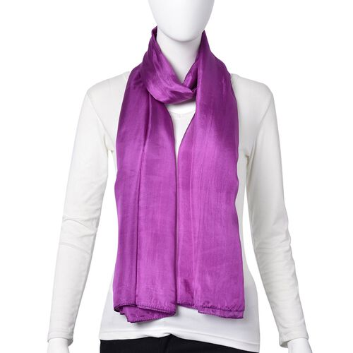 100% Mulberry Silk Pantone Colour Purple Scarf (Size 180X100 Cm)