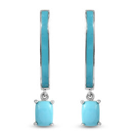 Arizona Sleeping Beauty Turquoise Enamelled Earrings (with Clasp) in Platinum Overlay Sterling Silve