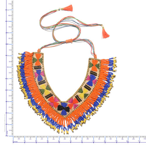Handmade Blue, Orange and Multi Colour Beads Adjustable Necklace (Size 20)