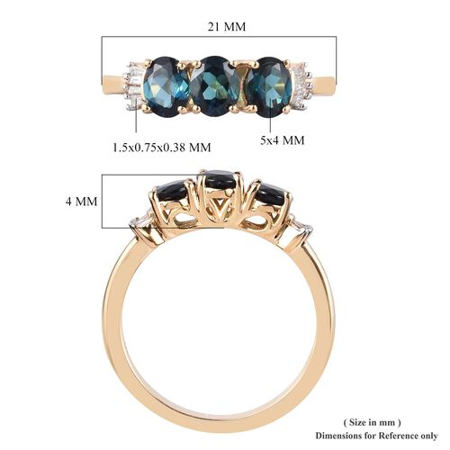 ILIANA 18K Yellow Gold AAA Monte Belo Indicolite and Diamond (SI/G-H) Ring 1.05 Ct.