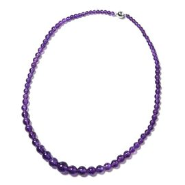 Amethyst (Rnd) Graduated Beads Necklace (Size 20) in Rhodium Overlay Sterling Silver 179.000 Ct