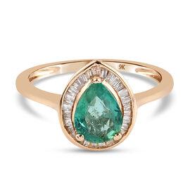 9K Yellow Gold AAA Zambian Emerald and Diamond Ring 1.13 Ct.