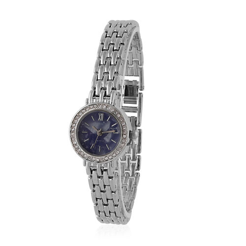 ETERNITY - Swarovski Studded Ladies Watch with Blue Dial in Silver Tone