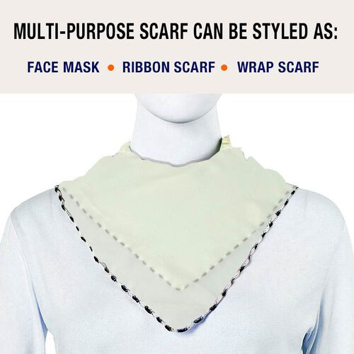 2 in 1 Chiffon Soft Feel Scarf and Face Covering (Size 45x45 Cm) - Off White