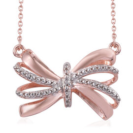Designer Inspired- Diamond (Rnd) Bow Necklace (Size 18) in Rose Gold Overlay Sterling Silver