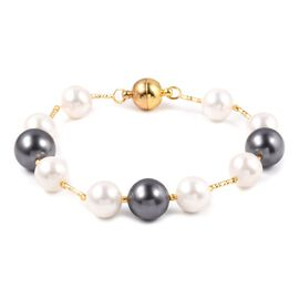 Mega Day Special- White Shell Pearl (Rnd 11-9 mm), Grey Shell Pearl Bracelet (Size 8) in Yellow Gold Plated