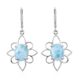 Larimar (Ovl 10x8 mm) Lever Back Earrings in Platinum Overlay Sterling Silver 5.750 Ct.