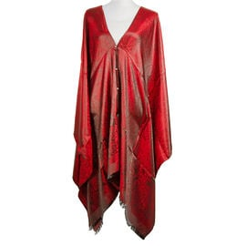 Designer Inspired-Wine Red and Black Colour Floral and Paisley Pattern Poncho (Size 90x90 Cm)