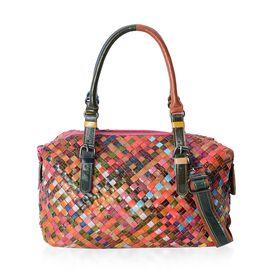 100% Genuine Leather MultiColor Blocking PatternTote Bag with Removable Shoulder Strap (Size 30x23x14 Cm)
