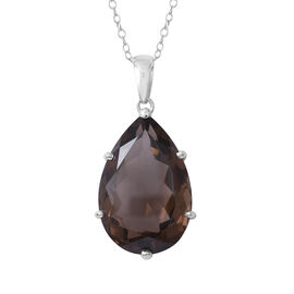 Brazilian Smoky Quartz (Pear 30x20 mm) Pendant With Chain (Size 30) in Rhodium Overlay Sterling Silv