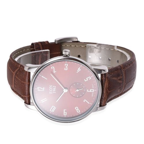EON 1962  3ATM Water Resistant Watch in with Interchangeable Dark Brown Colour Genuine Leather and Steel Strap