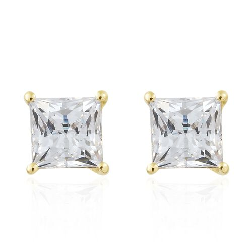 J Francis - 9K Yellow Gold (Princess Cut) Solitaire Pendant and Stud Earrings (with Push Back) Made with SWAROVSKI ZIRCONIA