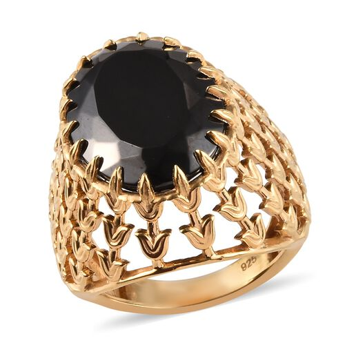 7.75 Ct Elite Shungite Solitaire Ring in 14K Gold Plated Sterling Silver 6.30 Grams